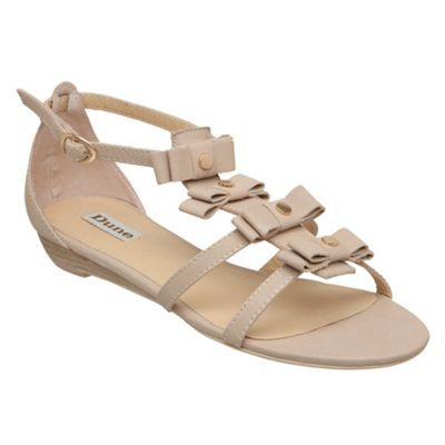 Nude Joy Four Bow Flat Sandal - predominant colour: nude; material: leather; heel height: flat; embellishment: studs; ankle detail: ankle strap; heel: standard; toe: open toe/peeptoe; style: strappy
