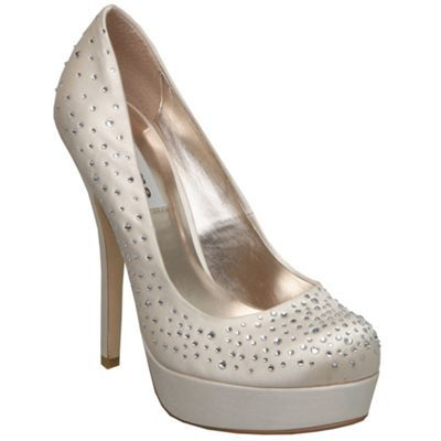 Ivory Brightly D Diamante Platform Court Shoe - predominant colour: ivory; material: satin; heel height: high; embellishment: crystals, sequins; heel: platform; toe: round toe; style: courts