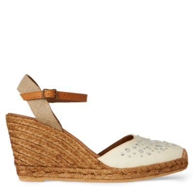 Pansy Wedge Sandal - predominant colour: ivory; material: fabric; heel height: mid; embellishment: buckles, crystals, jewels; ankle detail: ankle strap; heel: wedge; style: standard