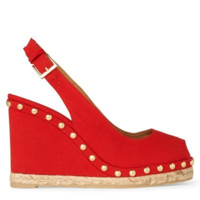 Uta Canvas Wedge Sandals - predominant colour: true red; material: fabric; heel height: high; embellishment: studs; ankle detail: ankle strap; heel: wedge; toe: open toe/peeptoe; style: slingbacks