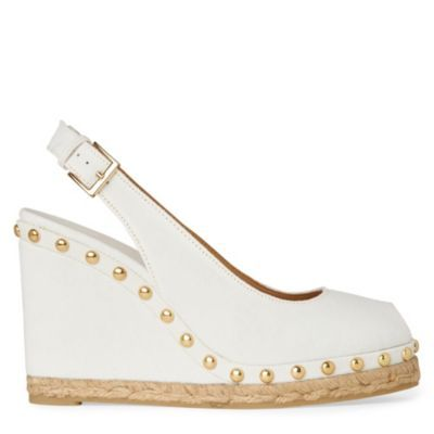 Uta Canvas Wedge Sandals - predominant colour: white; material: fabric; heel height: high; embellishment: studs; ankle detail: ankle strap; heel: wedge; toe: open toe/peeptoe; style: slingbacks