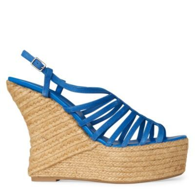 Gladis Wedge Sandals - predominant colour: royal blue; material: leather; heel height: high; ankle detail: ankle strap; heel: wedge; toe: open toe/peeptoe; style: strappy