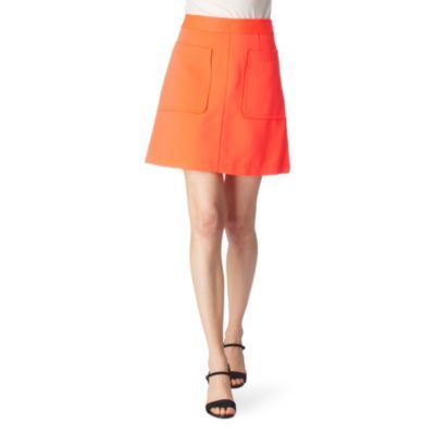 Esther Oxford Skirt - pattern: plain; fit: loose/voluminous; waist detail: fitted waist, narrow waistband; hip detail: front pockets at hip; waist: mid/regular rise; predominant colour: bright orange; occasions: casual, evening, work; length: just above the knee; style: a-line; fibres: polyester/polyamide - 100%; material texture: satin; trends: brights; texture group: structured shiny - satin/tafetta/silk etc.; pattern type: fabric; pattern size: standard
