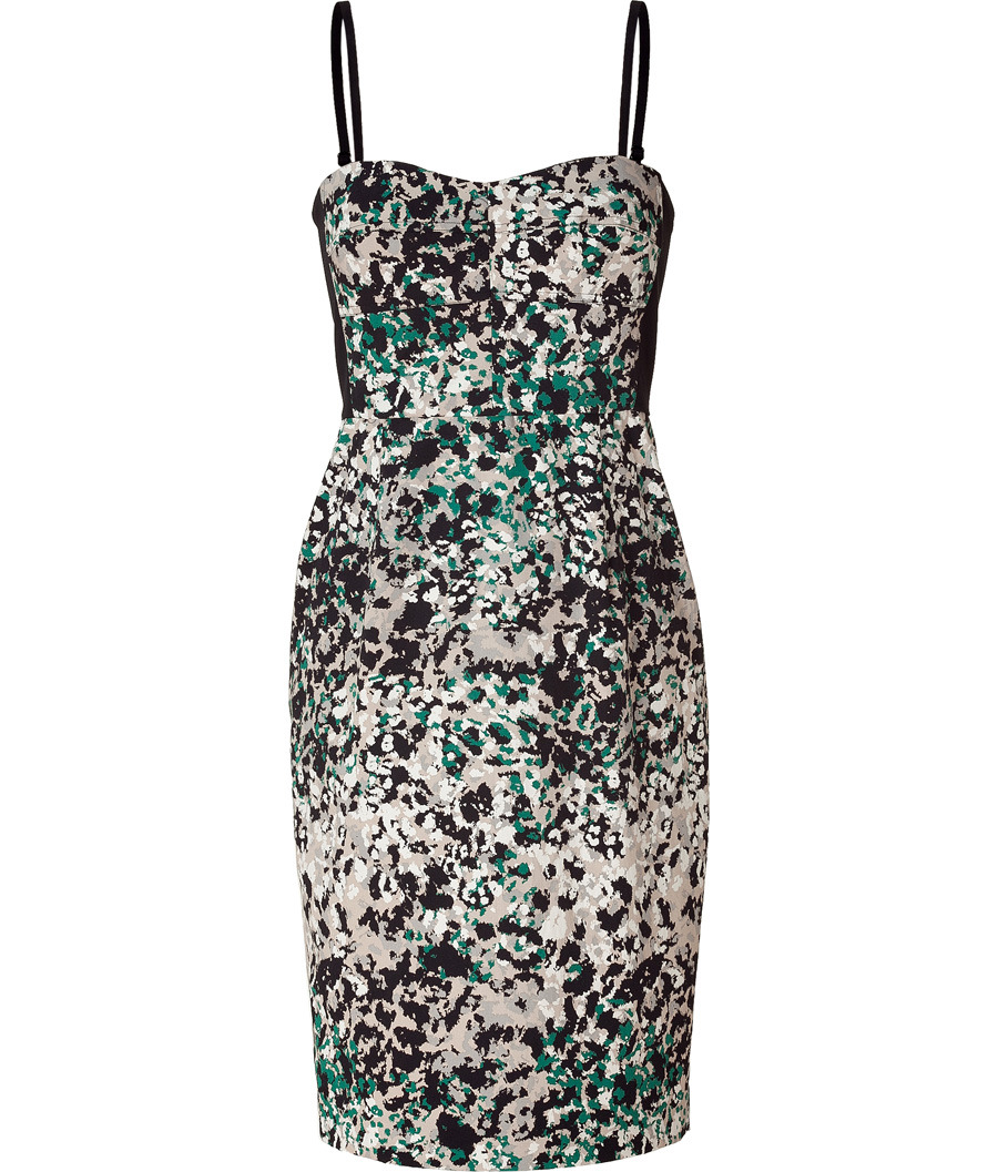 Malachite Printed Dress - style: shift; sleeve style: spaghetti straps; fit: tailored/fitted; waist detail: fitted waist; neckline: sweetheart; back detail: low cut/open back, contrast pattern/fabric at back; hip detail: fitted at hip; pattern: abstract, patterned/print; occasions: casual, evening; length: just above the knee; fibres: cotton - stretch; material texture: sateen; predominant colour: multicoloured; trends: prints; sleeve length: sleeveless; texture group: structured shiny - satin/tafetta/silk etc.; pattern type: fabric; pattern size: standard