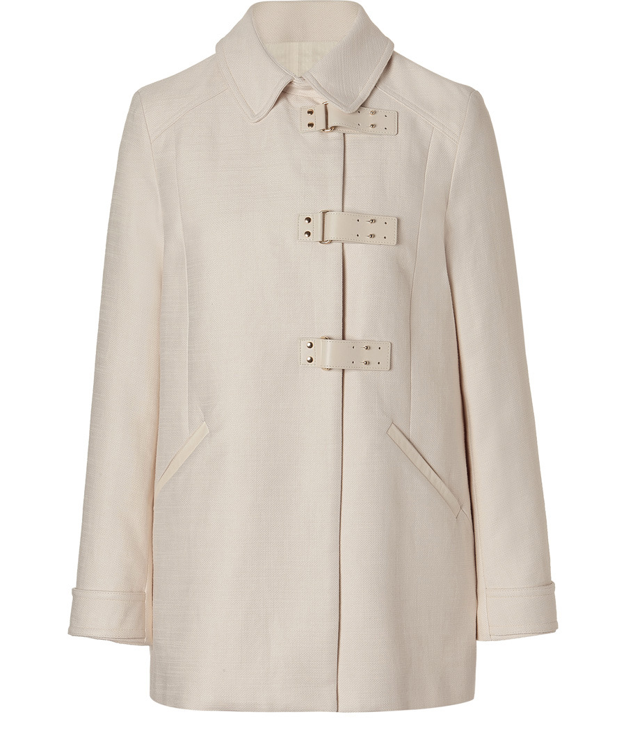 Ivory Woven Coat - pattern: plain; length: below the bottom; hip detail: side pockets at hip; style: single breasted; collar: high neck; predominant colour: ivory; occasions: casual, occasion; fit: straight cut (boxy); fibres: cotton - mix; material texture: taffeta; sleeve length: long sleeve; sleeve style: standard; texture group: structured shiny - satin/tafetta/silk etc.; collar break: high; pattern type: fabric; pattern size: standard