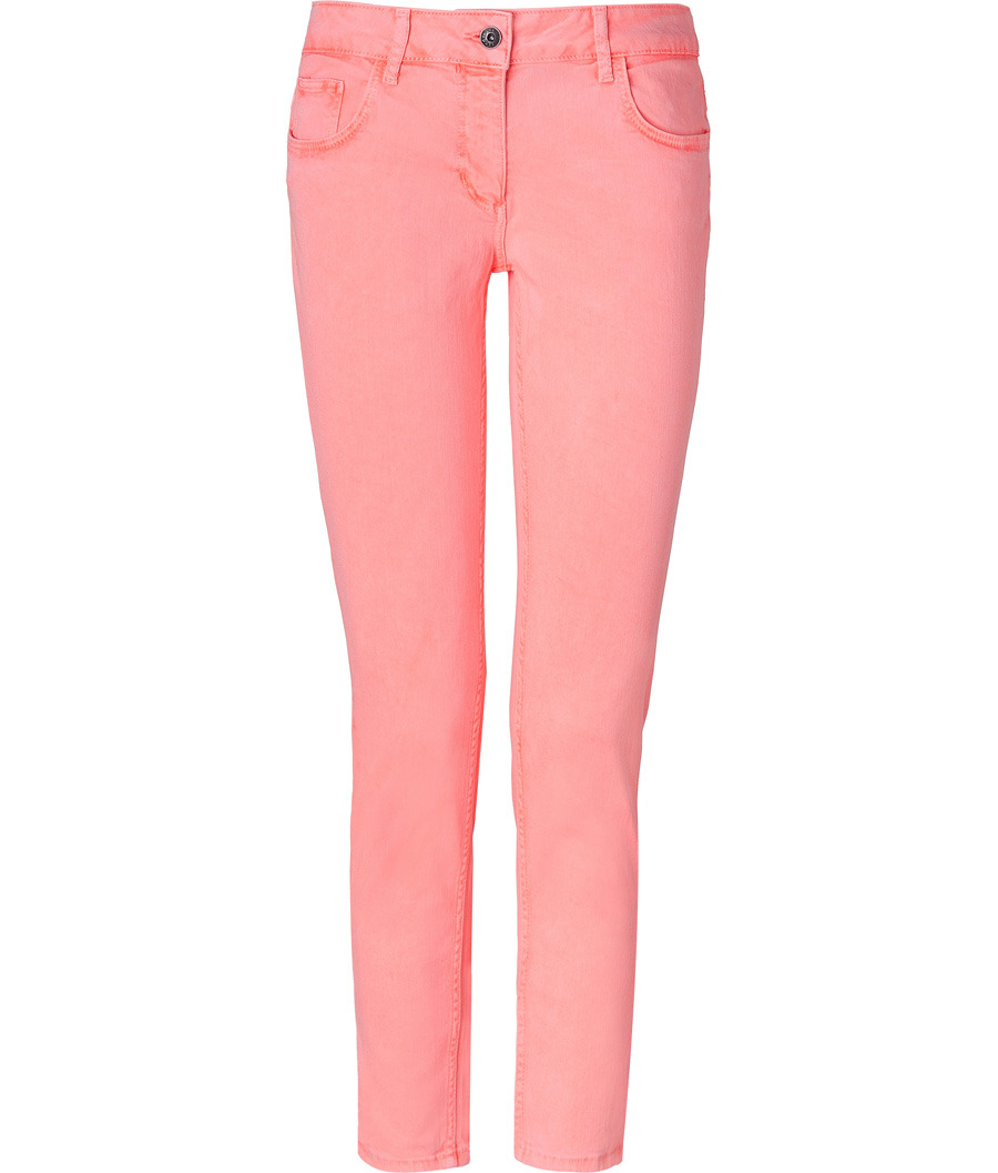 Neon Orange Skinny Pants - waist: low rise; pocket detail: traditional 5 pocket; predominant colour: pink; occasions: casual; length: ankle length; fibres: cotton - stretch; material texture: denim; trends: brights; texture group: denim; fit: skinny/tight leg; style: standard
