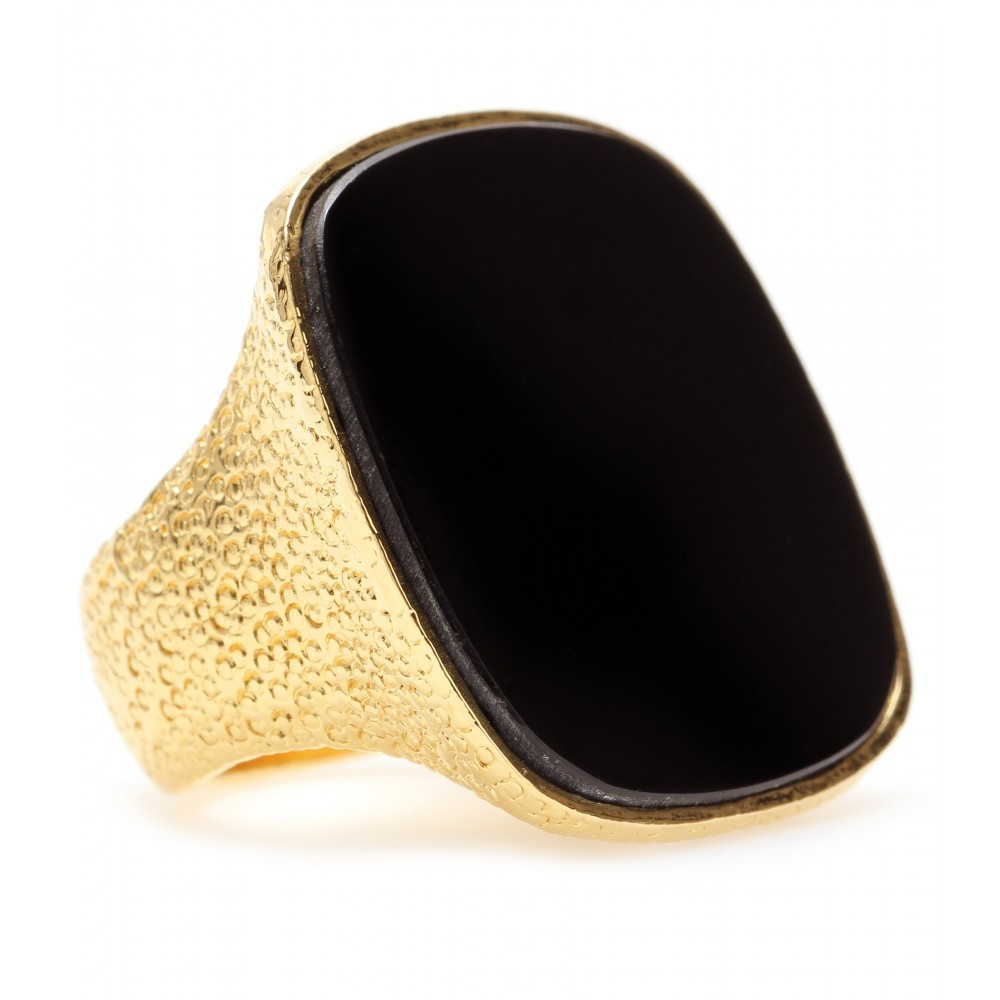 Ring With Reflective Stone - predominant colour: black; style: cocktail; size: large/oversized; material: chain/metal