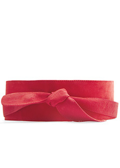 Belt Nob6 C - predominant colour: coral; style: cummerbund; size: wide; worn on: waist; material: suede; pattern: plain