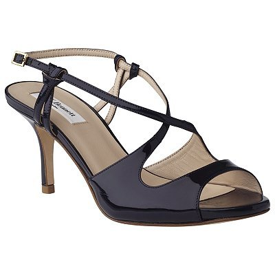 Vargas Patent Leather Sandals, Navy - predominant colour: navy; material: patent; heel height: mid; ankle detail: ankle strap; heel: stiletto; toe: open toe/peeptoe; style: strappy; finish: patent