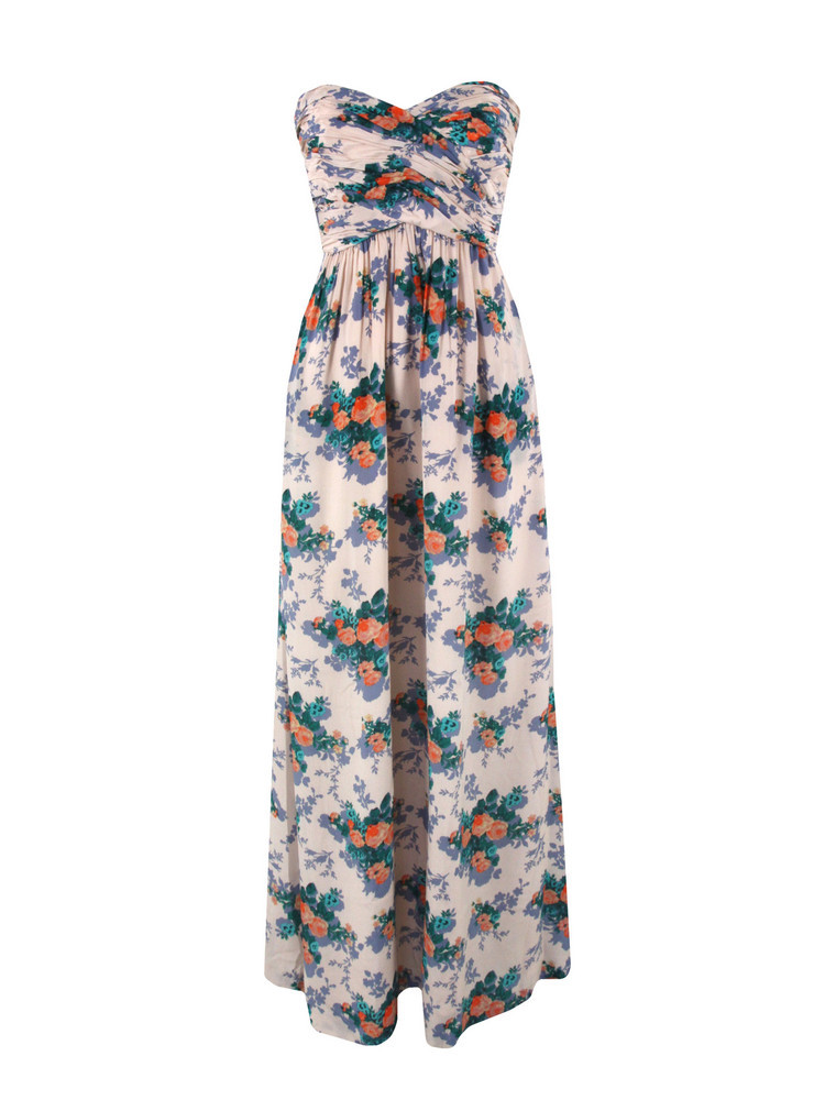 Roseraie Floral Dress - fit: empire; pattern: floral - busy, florals; style: maxi dress; sleeve style: strapless; waist detail: fitted waist, twist front waist detail/nipped in at waist on one side/soft pleats/draping/ruching/gathering waist detail; neckline: sweetheart; bust detail: ruching/gathering/draping/layers/pintuck pleats at bust; occasions: casual, evening, occasion; length: floor length; fibres: silk - 100%; material texture: chiffon; hip detail: soft pleats at hip/draping at hip/flared at hip; predominant colour: multicoloured; trends: prints; sleeve length: sleeveless; texture group: sheer fabrics/chiffon/organza etc.; pattern type: fabric; pattern size: small & busy