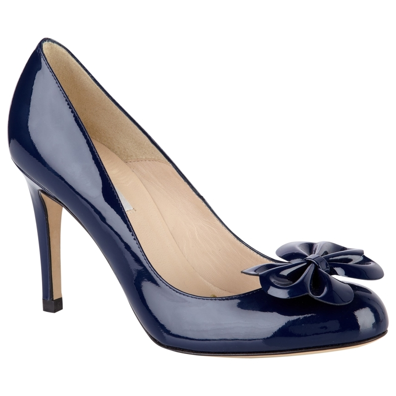 L.K.Bennett Petal Patent Court Shoes, Navy - predominant colour: navy; material: patent; heel height: high; heel: stiletto; toe: round toe; style: courts; finish: patent