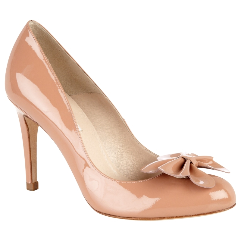 L.K.Bennett Petal Patent Court Shoes, Dusty Pink - predominant colour: nude; material: patent; heel height: high; heel: stiletto; toe: round toe; style: courts; finish: patent