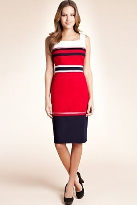 Cotton Rich Striped Shift Dress - style: shift; neckline: high square neck; fit: tailored/fitted; pattern: horizontal stripes, striped; sleeve style: sleeveless; waist detail: fitted waist; hip detail: fitted at hip; predominant colour: true red; occasions: evening, work; length: on the knee; fibres: cotton - stretch; material texture: jersey; sleeve length: sleeveless; pattern type: fabric; pattern size: standard; texture group: jersey - stretchy/drapey