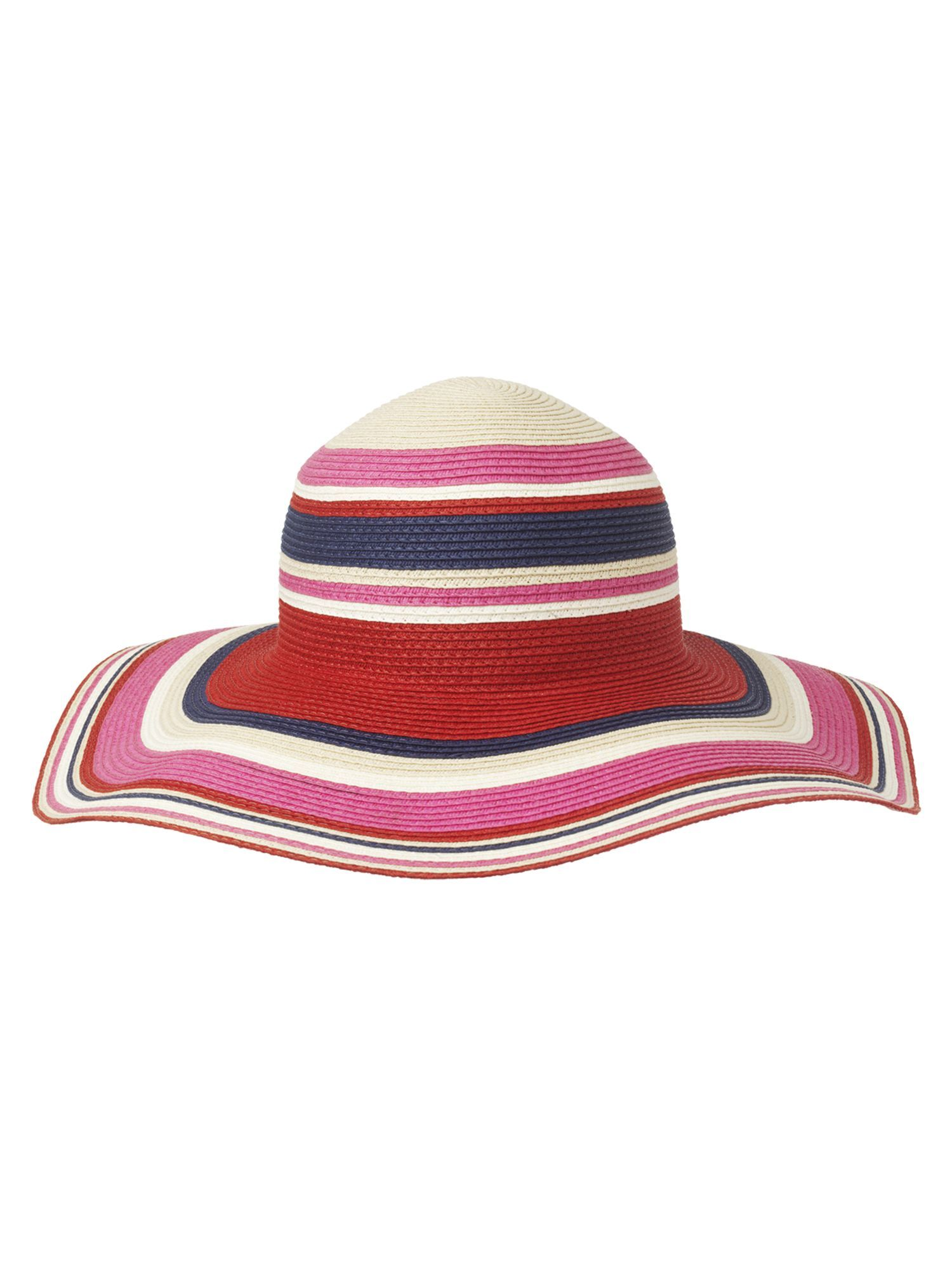 Multi Stripe Hat, Multi Coloured - predominant colour: multicoloured; type of pattern: standard; style: sunhat; size: large; material: macrame/raffia/straw; pattern: striped