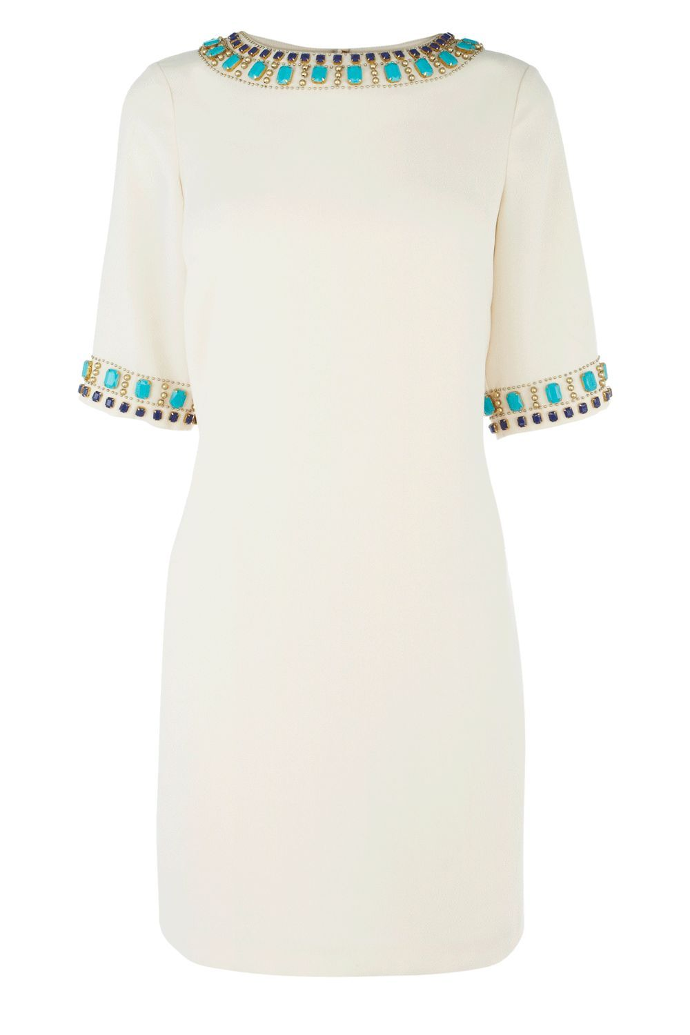 Women's Embellished Cuff Shift Dress, Cream - style: shift; neckline: round neck; fit: fitted at waist; pattern: plain; bust detail: added detail/embellishment at bust; predominant colour: ivory; occasions: casual, occasion; length: just above the knee; fibres: polyester/polyamide - 100%; material texture: chiffon; sleeve length: half sleeve; sleeve style: standard; texture group: sheer fabrics/chiffon/organza etc.; pattern type: fabric; embellishment: beading
