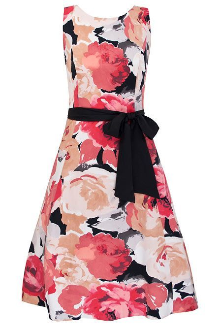 Women's Mabel Prom Dress, Red - neckline: round neck; pattern: floral - busy, florals; sleeve style: sleeveless; style: prom dress; waist detail: fitted waist, belted waist/tie at waist/drawstring; predominant colour: pink; occasions: evening, occasion; length: just above the knee; fit: body skimming; fibres: polyester/polyamide - 100%; material texture: sateen; trends: prints; sleeve length: sleeveless; texture group: structured shiny - satin/tafetta/silk etc.; pattern type: fabric; pattern size: small & busy