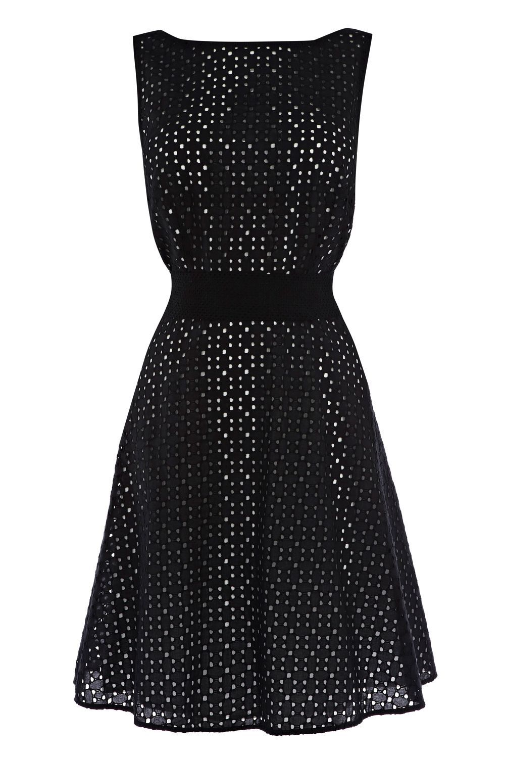 Women&#x27;s Lopez Broderie Dress, Black - style: shift; neckline: slash/boat neckline; fit: fitted at waist; pattern: plain, lightly patterned, lace, patterned/print; sleeve style: sleeveless; waist detail: fitted waist, wide waistband/cummerbund, narrow waistband; predominant colour: black; occasions: evening, occasion; length: just above the knee; fibres: cotton - 100%; material texture: lace; hip detail: structured pleats at hip; sleeve length: sleeveless; texture group: lace; pattern type: fabric; pattern size: small &amp; light