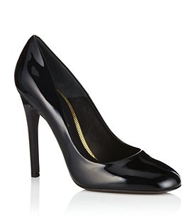 Eden Patent Pump - predominant colour: black; material: patent; heel height: high; heel: stiletto; toe: round toe; style: courts; finish: patent