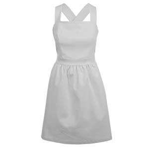Cotton Cross Back Sundress - style: a-line; neckline: high square neck; fit: fitted at waist; pattern: plain; sleeve style: sleeveless; waist detail: fitted waist, twist front waist detail/nipped in at waist on one side/soft pleats/draping/ruching/gathering waist detail; predominant colour: white; occasions: casual, occasion; length: on the knee; fibres: cotton - stretch; material texture: sateen; back detail: crossover; trends: white; sleeve length: sleeveless; texture group: structured shiny - satin/tafetta/silk etc.; pattern type: fabric; pattern size: standard