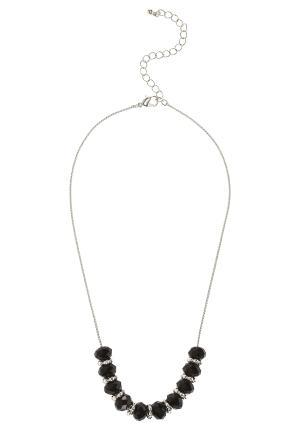 Facetted Bead Short Necklace - predominant colour: silver; style: standard; length: mid; size: standard; material: chain/metal