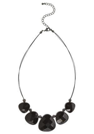Oval Facetted Collar Necklace - predominant colour: black; style: choker/collar; length: short; size: standard; material: plastic/rubber