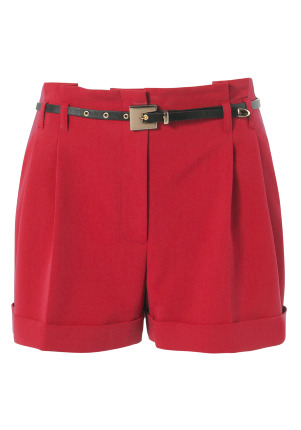 Limited Edition Belted Shorts - style: shorts; pocket detail: pockets at the sides; waist detail: belted waist/tie at waist/drawstring; length: mid thigh shorts; waist: mid/regular rise; predominant colour: true red; occasions: casual, evening, work; fibres: cotton - stretch; material texture: corduroy; hip detail: side pleats at hip; jeans &amp; bottoms detail: turn ups; trends: brights; texture group: corduroy; fit: slim leg