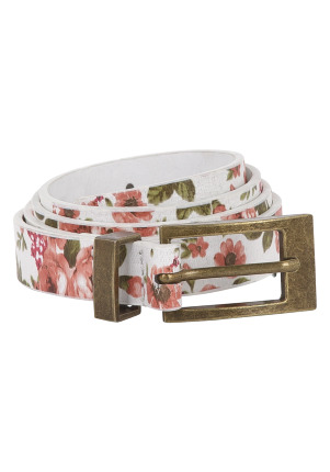 Rose Print Skinny Belt - predominant colour: multicoloured; type of pattern: light; style: classic; size: skinny; worn on: hips; material: faux leather; pattern: florals