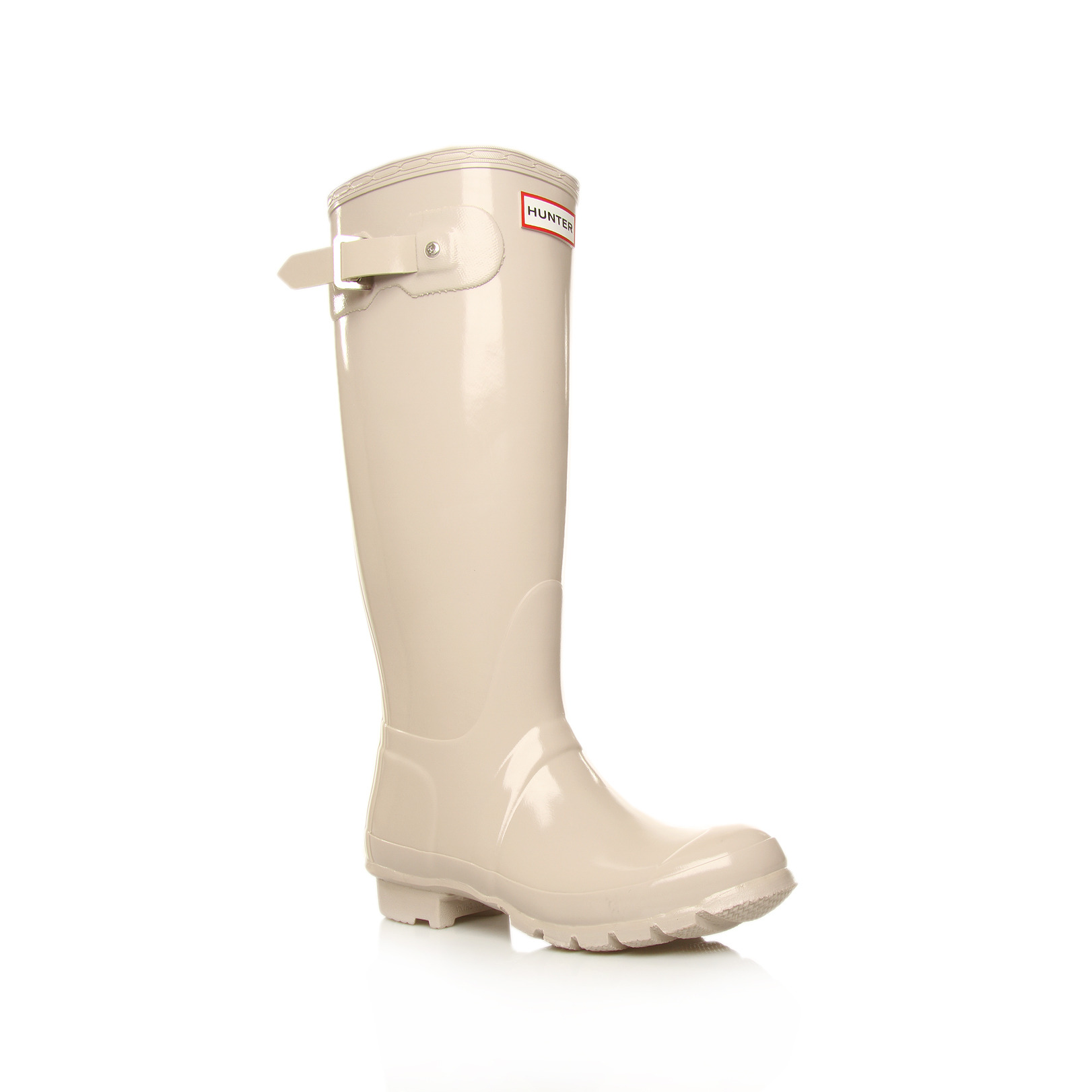 Original Tall Gloss - predominant colour: ivory; material: plastic/rubber; heel height: flat; embellishment: buckles; heel: standard; toe: round toe; boot length: mid calf; style: wellies