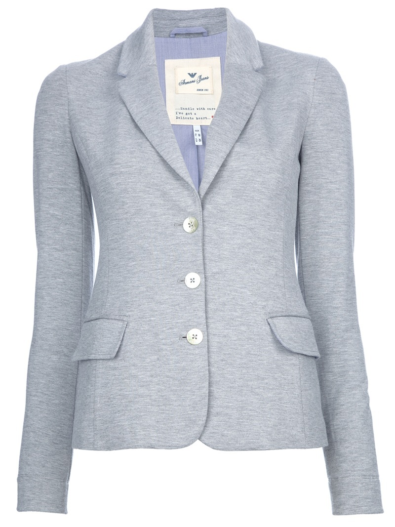 Suit Jacket - pattern: plain; style: single breasted blazer; shoulder detail: shoulder pads; hip detail: front pockets at hip; collar: standard lapel/rever collar; predominant colour: light grey; occasions: casual, work; length: standard; fit: tailored/fitted; fibres: cotton - stretch; material texture: jersey; waist detail: fitted waist; sleeve length: long sleeve; sleeve style: standard; pattern type: fabric; pattern size: standard; texture group: jersey - stretchy/drapey