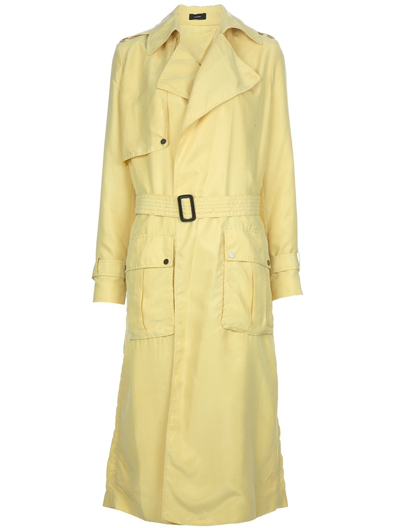 Trench Coat - pattern: plain; shoulder detail: obvious epaulette; style: trench coat; hip detail: front pockets at hip; fit: slim fit; collar: standard lapel/rever collar; predominant colour: primrose yellow; occasions: casual; fibres: silk - 100%; material texture: calico; length: below the knee; waist detail: belted waist/tie at waist/drawstring; sleeve length: long sleeve; sleeve style: standard; texture group: cotton feel fabrics; pattern type: fabric; pattern size: standard