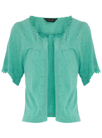 Turquoise Pointelle Shrug - style: bolero/shrug; length: cropped; neckline: collarless open; predominant colour: turquoise; occasions: casual; fibres: cotton - 100%; material texture: lace; fit: standard fit; trends: pastels, aquatic; sleeve length: half sleeve; sleeve style: standard; texture group: lace; pattern type: knitted - other; pattern size: small & light; embellishment: embroidered