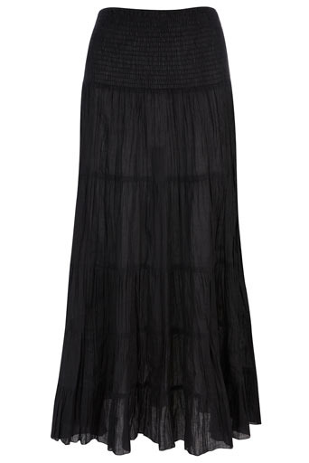 Black 2 Way Skirt Dress - pattern: plain; length: ankle length; fit: body skimming; hip detail: fitted at hip, ruching/gathering at hip; waist: mid/regular rise; predominant colour: black; occasions: casual, evening; style: maxi skirt; fibres: cotton - 100%; material texture: chiffon; texture group: sheer fabrics/chiffon/organza etc.; pattern type: fabric; pattern size: standard