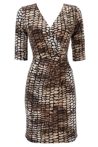 Animal Print Jersey Wrap Dress - style: faux wrap/wrap; neckline: v-neck; fit: tight; pattern: print, big animal print, abstract, animal print, patterned/print; waist detail: fitted waist, twist front waist detail/nipped in at waist on one side/soft pleats/draping/ruching/gathering waist detail; hip detail: fitted at hip; occasions: casual, evening, work; length: just above the knee; fibres: polyester/polyamide - stretch; material texture: jersey; predominant colour: multicoloured; trends: prints; sleeve length: half sleeve; sleeve style: standard; pattern type: fabric; pattern size: big & busy; texture group: jersey - stretchy/drapey