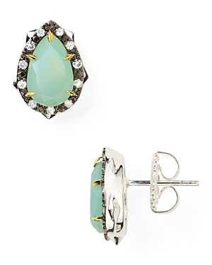 Aqua Chalcedony Thorn Stud Earrings - predominant colour: pistachio; style: stud; length: short; size: small; material: precious stones; fastening: pierced; embellishment: jewels