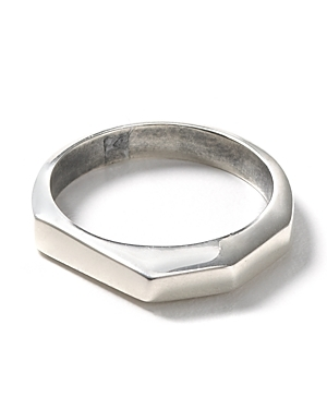 Silver Faceted Stacking Ring - predominant colour: silver; style: cocktail; size: standard; material: chain/metal