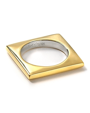Gold Square Stacking Ring - predominant colour: gold; style: cocktail; size: standard; material: chain/metal