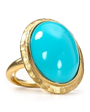 Turquoise Dome Ring - predominant colour: turquoise; style: cocktail; size: large/oversized; material: precious stones; embellishment: jewels