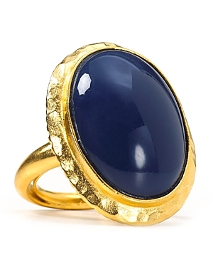Lapis Dome Ring - predominant colour: navy; style: cocktail; size: large/oversized; material: chain/metal