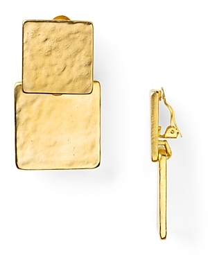Square Double Drop Earrings - predominant colour: gold; style: drop; length: mid; size: standard; material: chain/metal; fastening: pierced