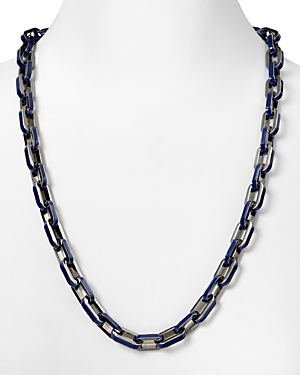 Mini Links Necklace - predominant colour: navy; style: standard; length: long; size: large/oversized; material: chain/metal
