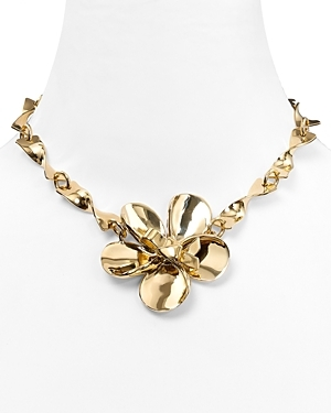 Flower Chain Twist Necklace - predominant colour: gold; style: standard; length: short; size: large/oversized; material: chain/metal