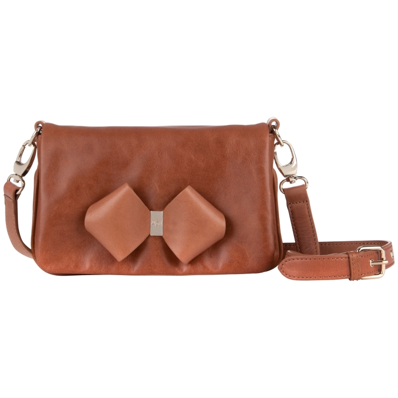Hobbie Bow Detail Leather Across Body Handbag, Tan - predominant colour: tan; style: satchel; length: across body/long; size: small; material: leather; embellishment: applique; pattern: plain