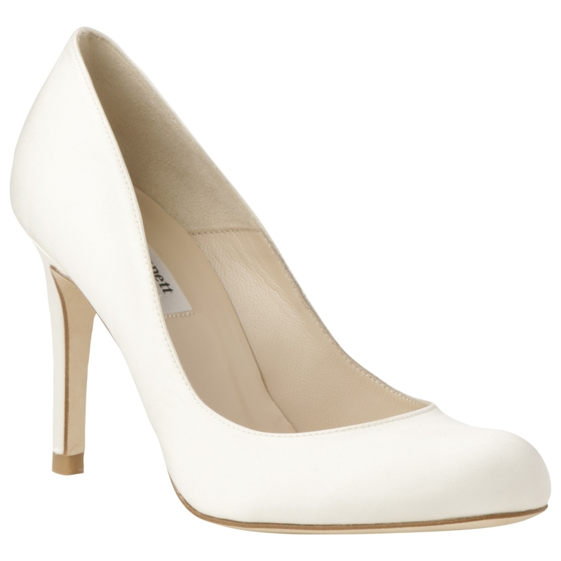 Shilo Satin Court Shoes, Cream - predominant colour: ivory; material: satin; heel height: high; heel: stiletto; toe: round toe; style: courts