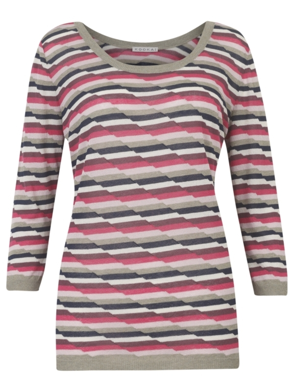 Offset Striped Sweater, Pink - neckline: scoop neck; pattern: horizontal stripes, print, striped, patterned/print; style: standard; predominant colour: hot pink; occasions: casual; length: standard; fibres: polyester/polyamide - stretch; material texture: denim; fit: standard fit; waist detail: fitted waist; trends: prints; sleeve length: 3/4 length; sleeve style: standard; texture group: denim; pattern type: knitted - other; pattern size: standard