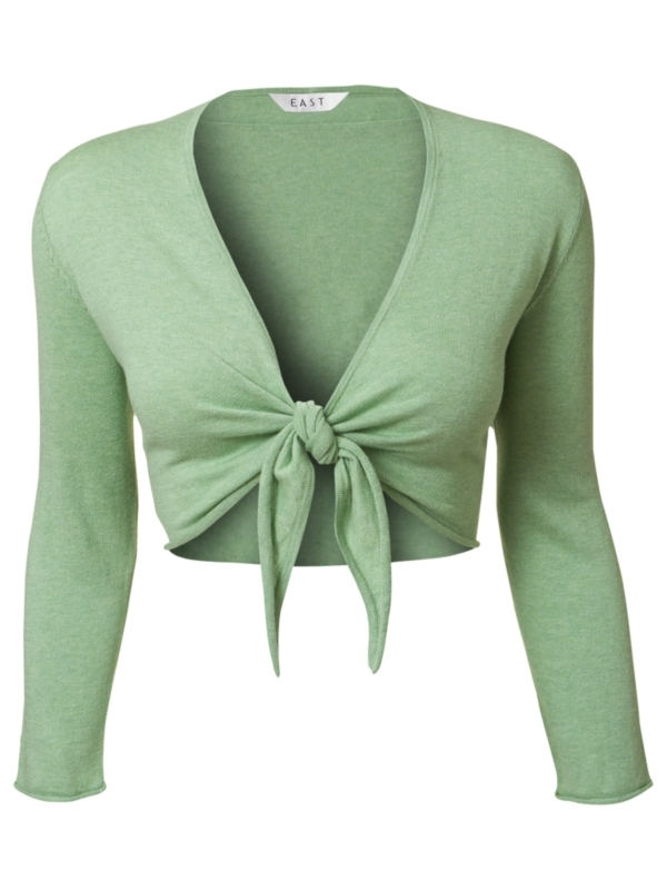 Tie Front Shrug, Apple - neckline: low v-neck; pattern: plain; style: bolero/shrug; length: cropped; predominant colour: pistachio; occasions: casual; fibres: cotton - 100%; material texture: calico; fit: slim fit; waist detail: belted waist/tie at waist/drawstring; trends: pastels; sleeve length: 3/4 length; sleeve style: standard; texture group: cotton feel fabrics; pattern type: knitted - other; pattern size: standard