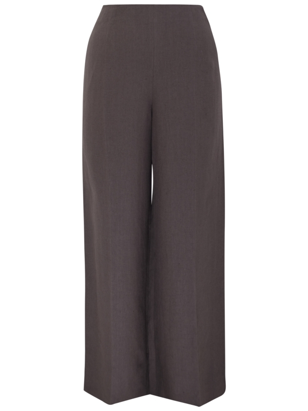 Summer Tailored Trousers, Light Chocolate - length: standard; waist: mid/regular rise; predominant colour: chocolate brown; occasions: casual, work; fibres: linen - 100%; material texture: satin; texture group: structured shiny - satin/tafetta/silk etc.; fit: wide leg; style: standard