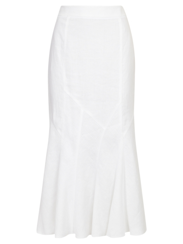 Linen Skirt, White - pattern: plain; length: ankle length; fit: body skimming; waist detail: fitted waist; hip detail: fitted at hip, structured pleats at hip; waist: mid/regular rise; predominant colour: white; occasions: casual, occasion; style: fit & flare; fibres: linen - 100%; material texture: jersey; trends: white; pattern type: fabric; pattern size: standard; texture group: jersey - stretchy/drapey
