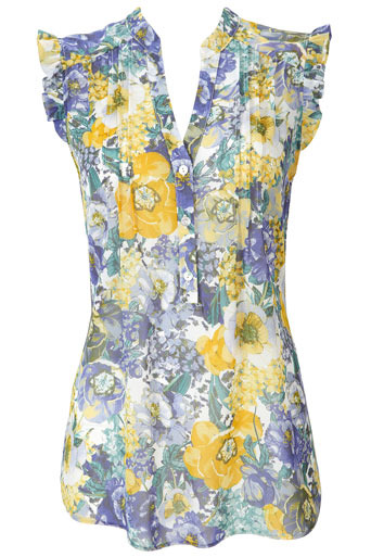 Yellow Frill Sleeveless Blouse - neckline: v-neck; pattern: floral - busy, florals; waist detail: fitted waist; shoulder detail: tiers/frills/ruffles; style: blouse; bust detail: ruching/gathering/draping/layers/pintuck pleats at bust, buttons at bust (in middle at breastbone)/zip detail at bust; sleeve style: volant; predominant colour: primrose yellow; occasions: casual, work; length: standard; fibres: polyester/polyamide - 100%; material texture: chiffon; fit: body skimming; hip detail: slits at hip; trends: pastels, prints; texture group: sheer fabrics/chiffon/organza etc.; pattern type: fabric; pattern size: small & busy