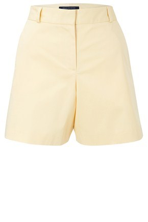 Carlotta Cotton Shorts - style: shorts; pocket detail: small back pockets, pockets at the sides; waist detail: wide waistband/cummerbund; waist: high rise; length: short shorts; predominant colour: primrose yellow; occasions: casual, work; fibres: cotton - stretch; material texture: jersey; fit: skinny/tight leg; texture group: jersey - stretchy/drapey
