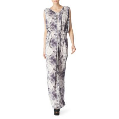 Mamay Maxi Dress - neckline: round neck; sleeve style: sleeveless; style: maxi dress; pattern: print, patterned/print; waist detail: belted waist/tie at waist/drawstring; occasions: casual, occasion; length: floor length; fit: body skimming; fibres: polyester/polyamide - 100%; material texture: chiffon; back detail: keyhole/peephole detail at back; predominant colour: multicoloured; trends: prints; sleeve length: sleeveless; texture group: sheer fabrics/chiffon/organza etc.; pattern type: fabric; pattern size: standard